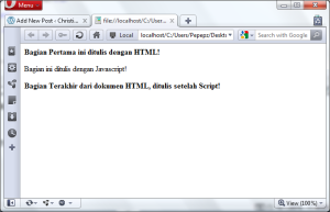 Contoh JavaScript Pada File yang Sama