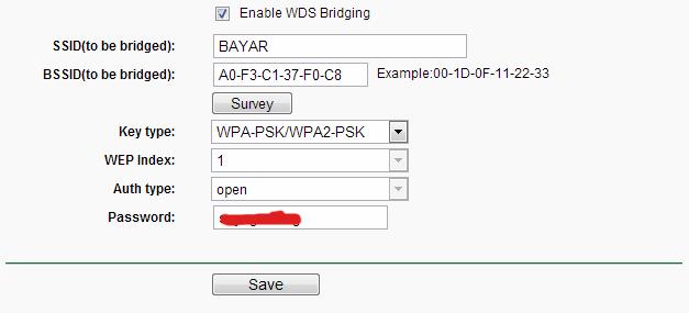 Enable WDS Bridging