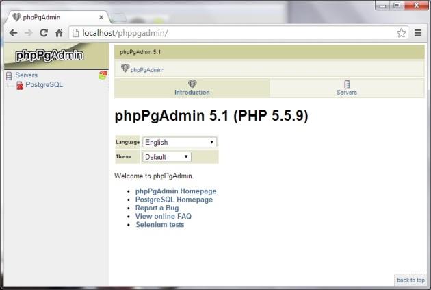 running phppgadmin